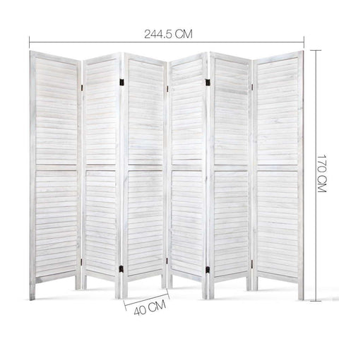 Artiss 6 Panel Room Divider Privacy Screen Foldable Wood Stand - White dimensions