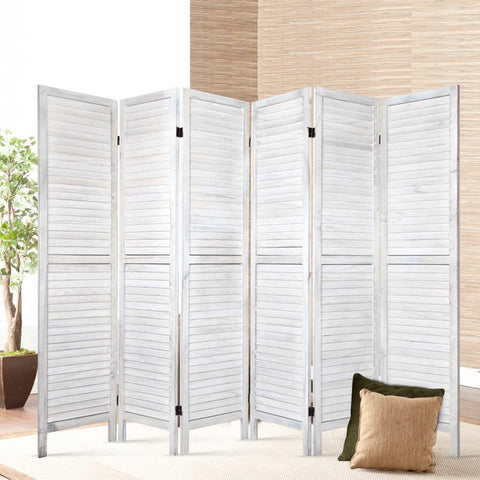 Artiss 6 Panel Room Divider Privacy Screen Foldable Wood Stand - White large office partition