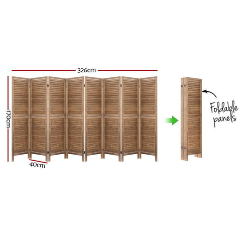 Room Divider Screen 8 Panel Privacy Wood Dividers Stand - Brown dimensions