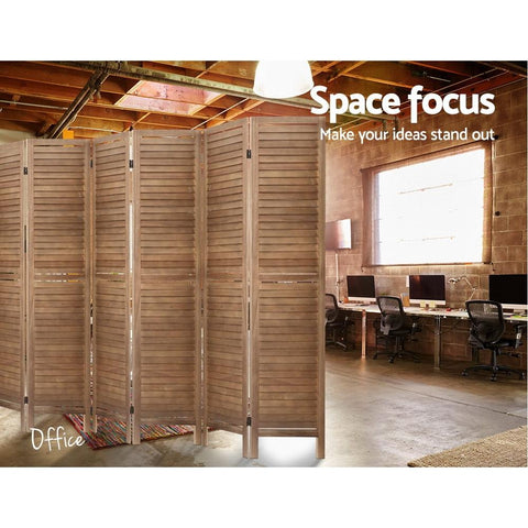 Room Divider Screen 8 Panel Privacy Wood Dividers Stand - Brown office divider