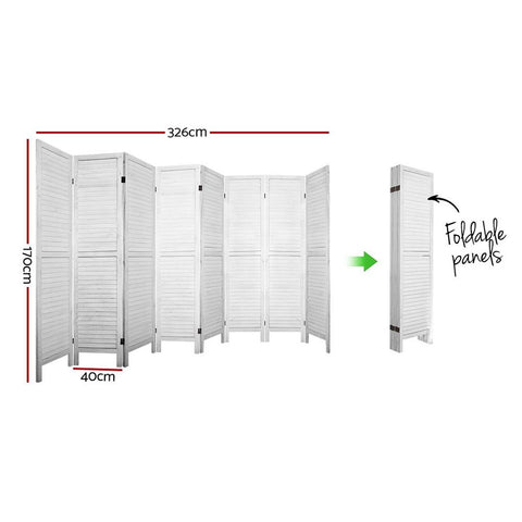 Room Divider Screen 8 Panel Privacy Wood Dividers Timber - White dimensions
