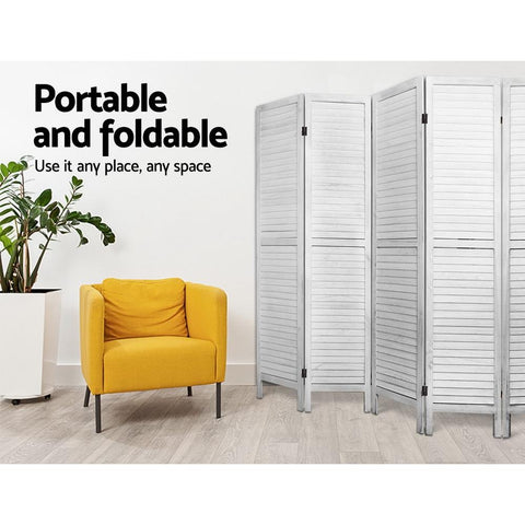 Room Divider Screen 8 Panel Privacy Wood Dividers Timber - White office partitions