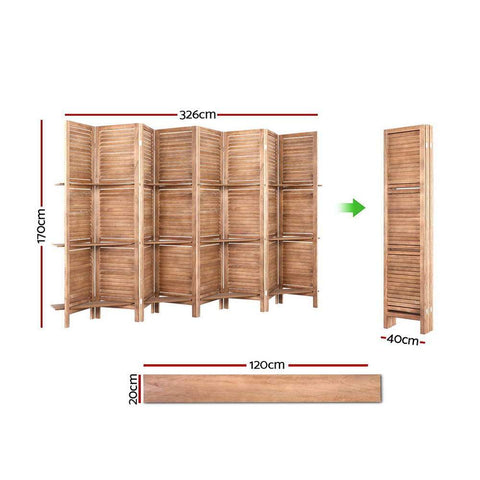 Room Divider Screen 8 Panel Wooden Stand - Brown dimensions