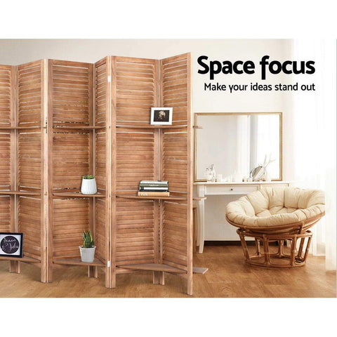 Room Divider Screen 8 Panel Wooden Stand - Brown office partition