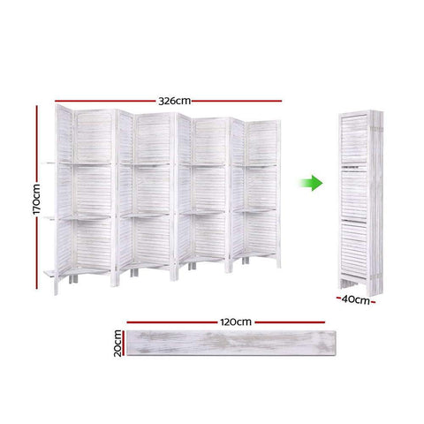 Room Divider Screen 8 Panel Privacy Foldable Dividers Timber Stand Shelf - White dimensions