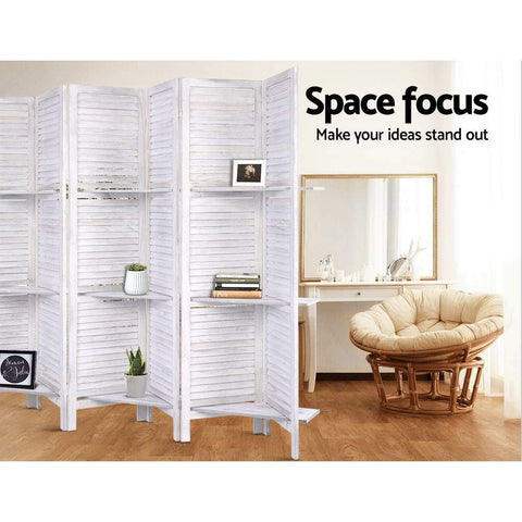 Room Divider Screen 8 Panel Privacy Foldable Dividers Timber Stand Shelf - White office partition