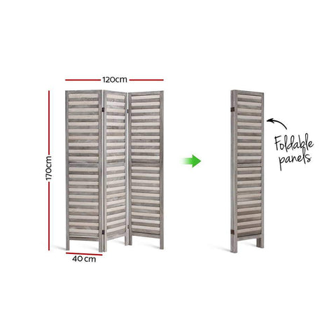 Room Divider Privacy Screen Foldable Partition Stand 3 Panel - Grey dimensions