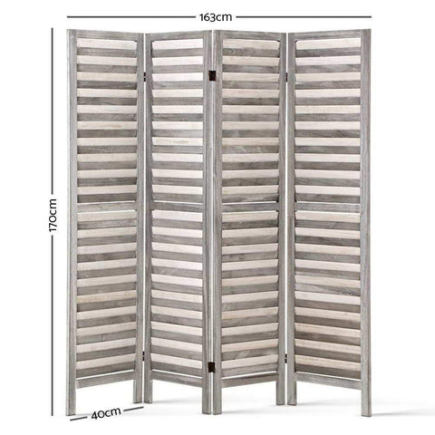 Artiss 4 Panel Foldable Wooden Room Divider - Grey dimensions