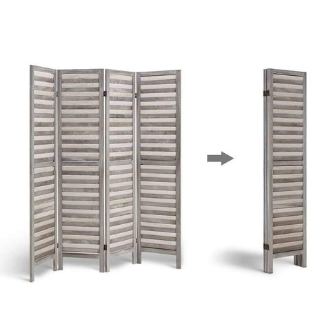 Artiss 4 Panel Foldable Wooden Room Divider - Grey office partition