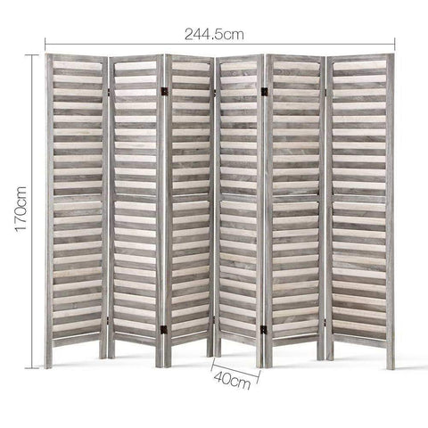 Artiss 6 Panel Room Divider Privacy Screen Foldable Wood Stand - Grey dimensions