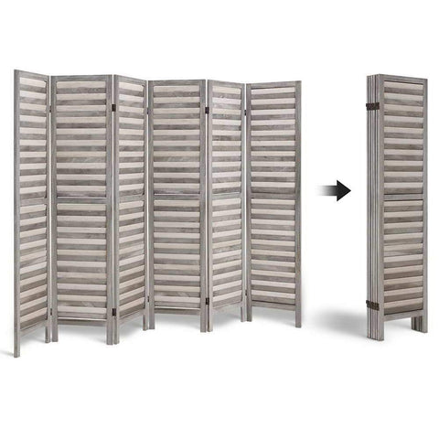 Artiss 6 Panel Room Divider Privacy Screen Foldable Wood Stand - Grey folded up