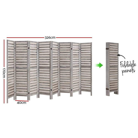 Artiss 8 Panel Room Divider Screen Privacy Wood Dividers Timber Stand - Grey dimensions