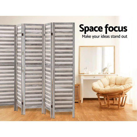 Artiss 8 Panel Room Divider Screen Privacy Wood Dividers Timber Stand - Grey space focus