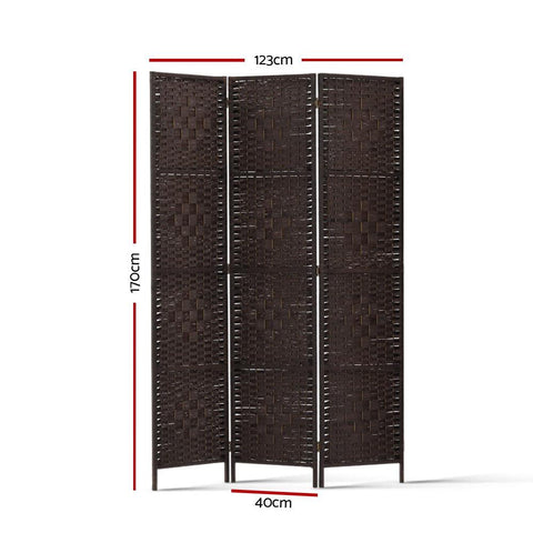 Artiss 3 Panel Room Divider Privacy Screen Rattan Woven Wood Stand - Brown dimensions