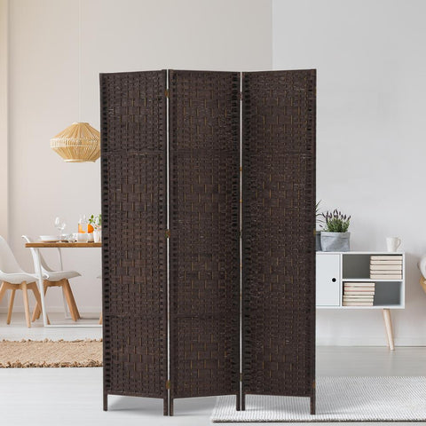 Artiss 3 Panel Room Divider Privacy Screen Rattan Woven Wood Stand - Brown lifestyle