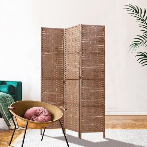 Artiss 3 Panel Room Divider Screen Privacy Rattan Dividers Stand Fold Natural