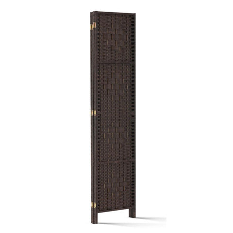 Artiss 4 Panel Room Divider Privacy Screen Rattan Woven Wood Stand - Brown compact design