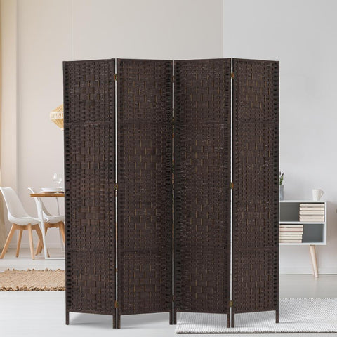 Artiss 4 Panel Room Divider Privacy Screen Rattan Woven Wood Stand - Brown office partition