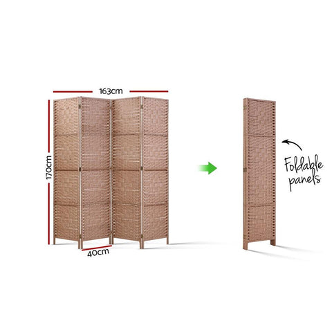 Artiss 4 Panel Room Divider Screen Privacy Rattan Timber Foldable Dividers Stand - Hand Woven dimensions