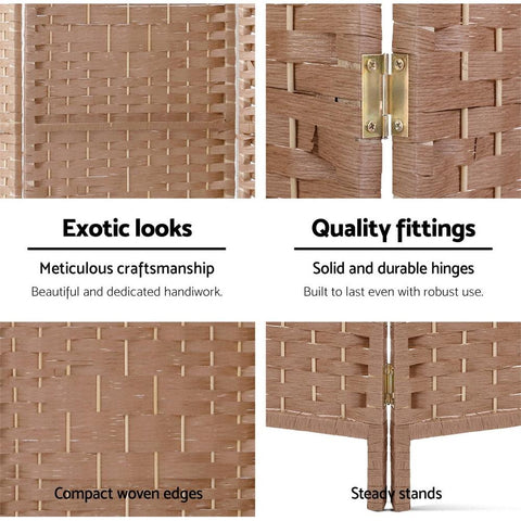 Artiss 4 Panel Room Divider Screen Privacy Rattan Timber Foldable Dividers Stand - Hand Woven quality fittings