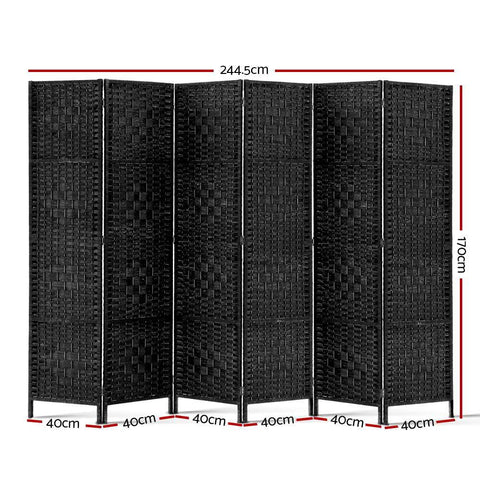 Artiss 6 Panel Room Divider - Black dimensions