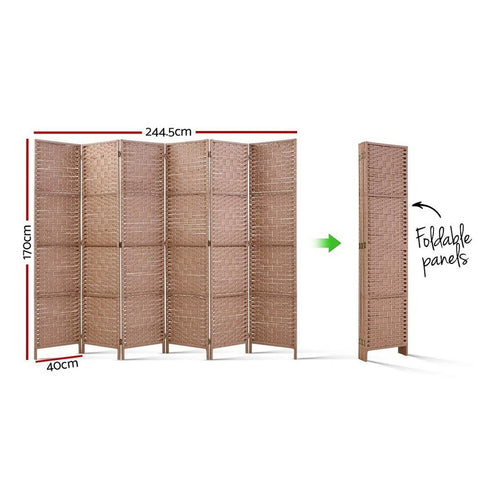 Artiss 6 Panel Room Divider Screen Privacy Rattan Timber Foldable Dividers Stand - Hand Woven dimensions