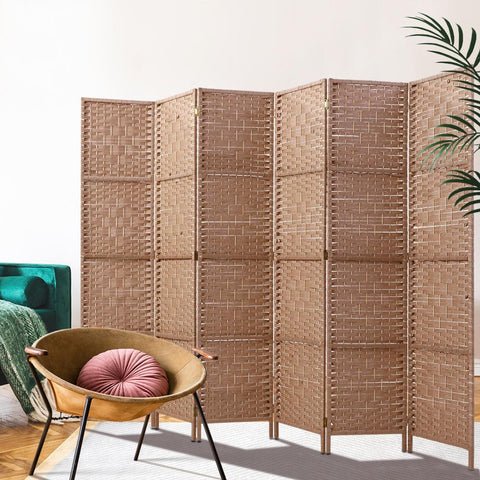 Artiss 6 Panel Room Divider Screen Privacy Rattan Timber Foldable Dividers Stand - Hand Woven large room partition