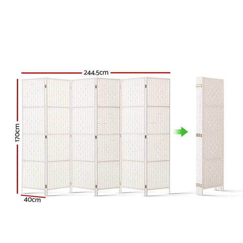 Artiss 6 Panel Room Divider Privacy Screen Rattan Timber Fold Woven Stand - White dimensions