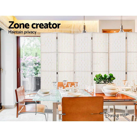 Artiss 6 Panel Room Divider Privacy Screen Rattan Timber Fold Woven Stand - White office privacy creator