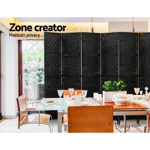 Room Divider 8 Panel Dividers Privacy Screen Rattan Wooden Stand - Black office partition