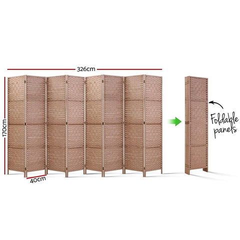 Artiss 8 Panel Room Divider Screen Privacy Rattan Timber Foldable Dividers Stand - Hand Woven dimensions