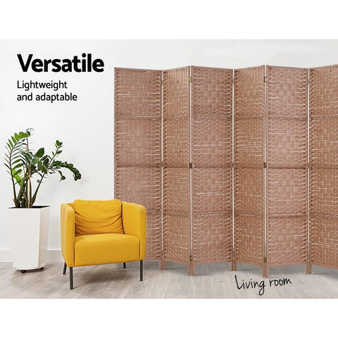 Artiss 8 Panel Room Divider Screen Privacy Rattan Timber Foldable Dividers Stand - Hand Woven versatile lightweight