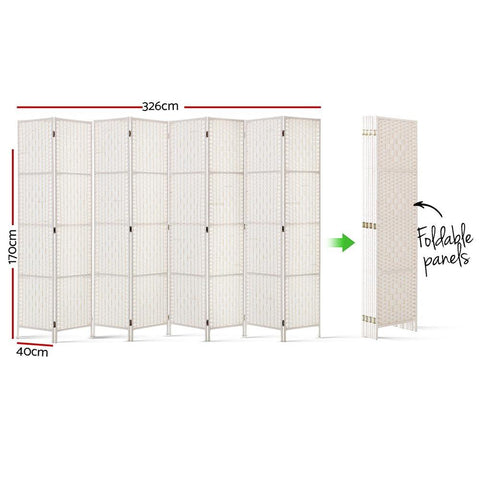 Artiss 8 Panels Room Divider Screen Privacy Rattan Timber Fold Woven Stand - White dimensions