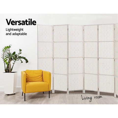 Artiss 8 Panels Room Divider Screen Privacy Rattan Timber Fold Woven Stand - White lightweight and portable divider