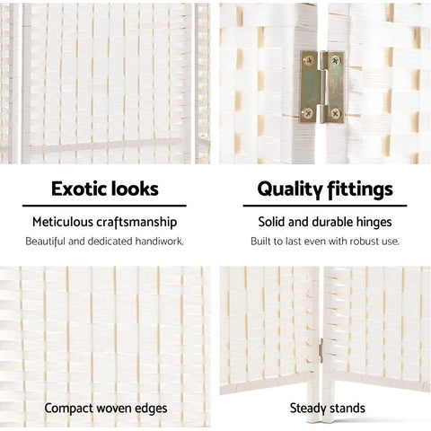 Artiss 8 Panels Room Divider Screen Privacy Rattan Timber Fold Woven Stand - White exotic looks