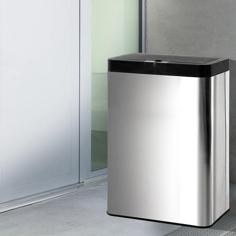Stainless Steel Sensor Bin Rubbish Trash Bins Motion Automatic Touch Free 50L