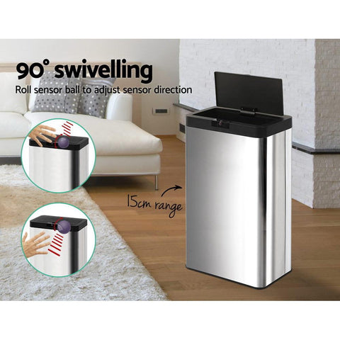 70L Stainless Steel Sensor Bin Rubbish Trash Bins Motion Automatic AC Adaptor