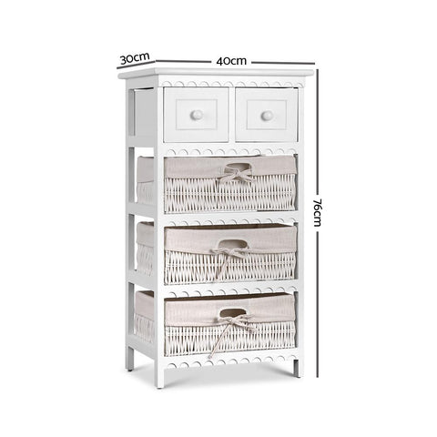 Artiss 3 Basket Storage Drawers - White dimensions
