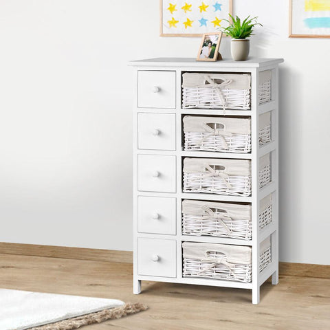 Artiss 5 Basket Storage Drawers - White office drawers