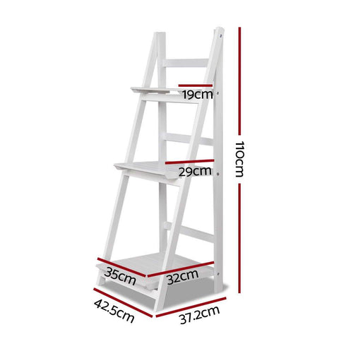 Artiss Display Shelf 3 Tier Wooden Ladder Stand - White dimensions