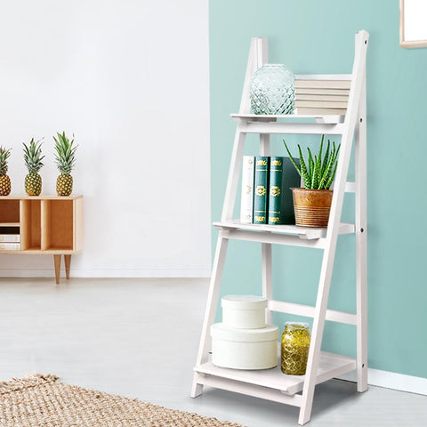 Artiss Display Shelf 3 Tier Wooden Ladder Stand - White plant stand bookshelf