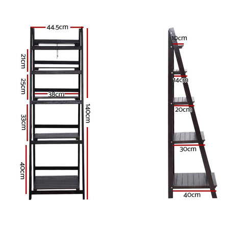 Artiss Display Shelf 5 Tier Wooden Ladder Stand - Coffee dimensions