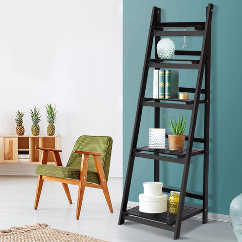 Artiss Display Shelf 5 Tier Wooden Ladder Stand - Coffee office bookshelf
