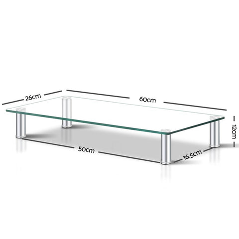 Monitor Stand Desktop Riser - Clear Tempered Glass dimensions