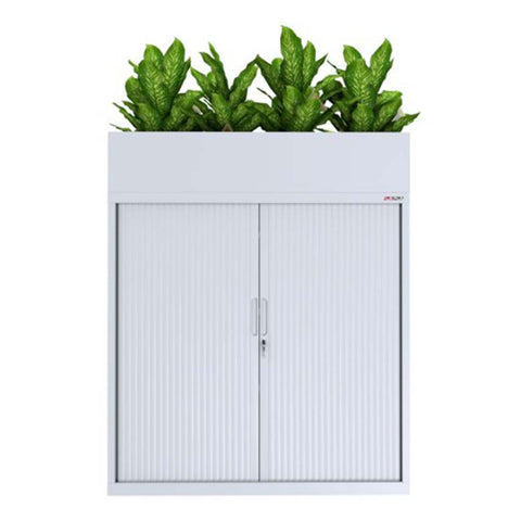 Ausfile Tambour Sliding Door Steel Cabinet with planter box