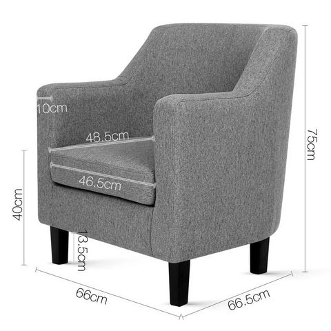 Artiss 'Adell' Fabric Dining Armchair - Grey dimensions