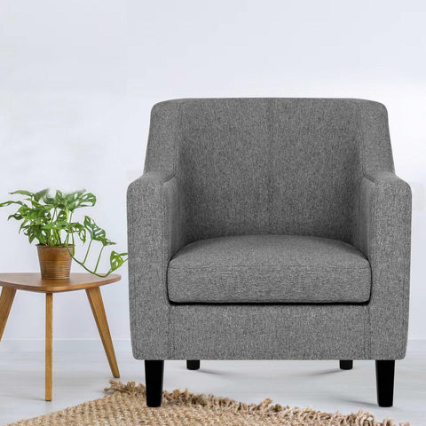 Artiss 'Adell' Fabric Dining Armchair - Grey home office setting