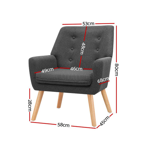 Armchair 'Anne' Tub Single Dining Chair - Charcoal dimensions