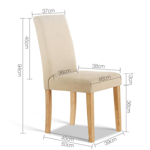 Fabric Dining Chair x 2 - Beige dimensions