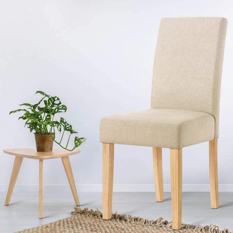 Fabric Dining Chair x 2 - Beige dining chair